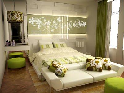 dormitorio con cortinas combinadas