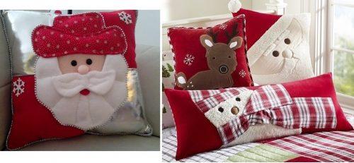 Almohadas en rojo y blanco navideño