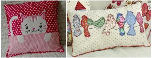 Almohadas bordadas a máquina