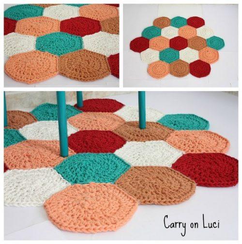 Alfombras de trapillo varios colores forma de rombo