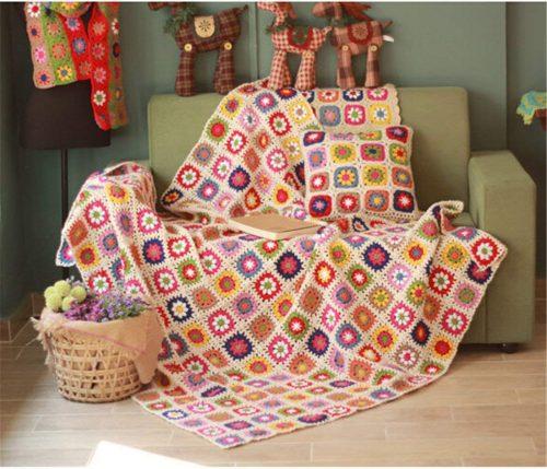 Mantas crochet coloridas